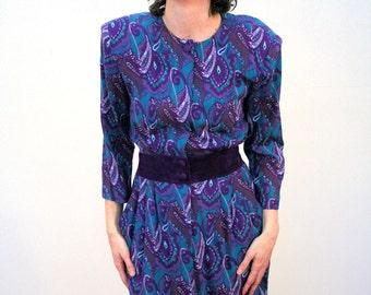 80s Karin Stevens Dress, Purple Paisley Dress, Soft Rayon Teal Paisley Dress, Paisley Rayon Dress, Suede Waistband, Hipster 80s Dress M
