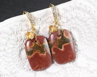 Picasso Jasper Citrine gold earrings, CZ pave gold vermeil hooks, Gift for Her