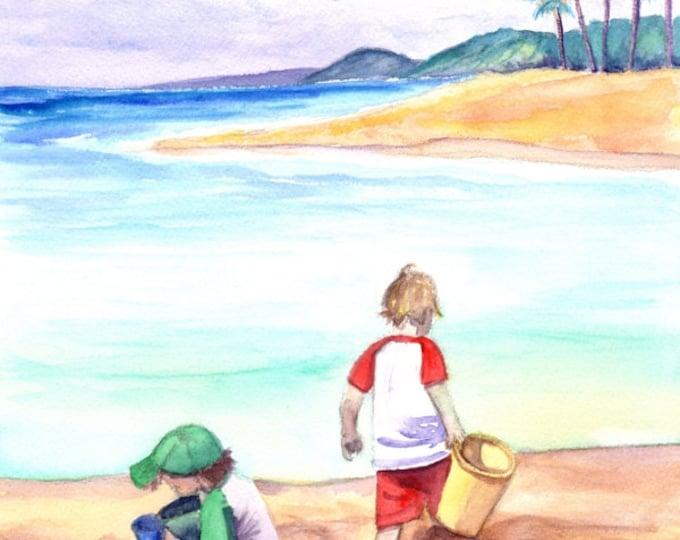 Children at the Beach, Original Watercolors, Poipu Beach Paintings,  Boys in the Sand, Two Boys Watercolor, Building Sandcastles, Kids Art