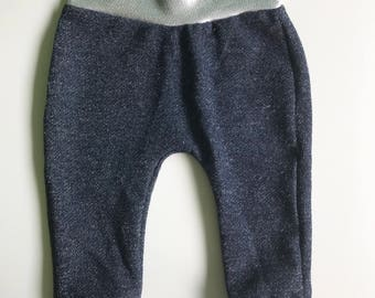 Faux denim and silver jogger pants Sizes: 3m through 3T