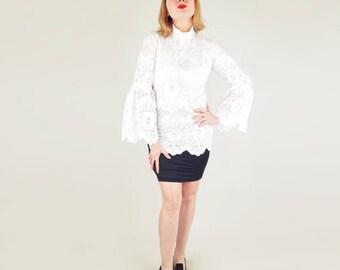 60s White Lace Flounce Sleeve Long Tunic or Micro Mini Dress M