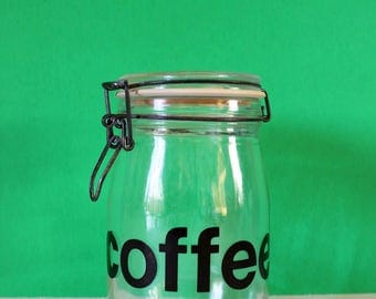 Vintage Jar / Coffee Jar / Vintage Coffee Jar / Coffee Lover / France / French Glass / Housewarming Gift / Coffee Lover Gift / Triomphe Jar