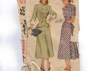 Vintage 1940s Sewing Pattern Simplicity 1866 Misses Two Piece Dress Suit Peplum Military Button Front Size 16 Bust 34