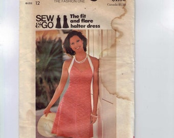 1970s Vintage Sewing Pattern Butterick 3702 Fit and Flare Halter Dress Easy Size 12 Bust 34 UNCUT 70s