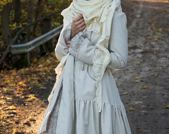 ORGANIC WRAP SHAWL - Boho Bohemian Hippie Faery Fairy Lace Scarf Scarves Romantic Ooak Burning man - Off white Ivory Cream