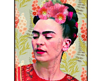 Frida Kahlo Painting Hollyhocks Modern Photomontage Poster Print Instant Digital Download Mixed Media Collage Oil Painting All Sizes
