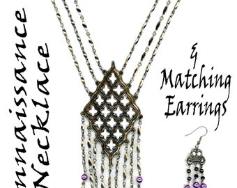Pendant Earring Set ~ Pearls ~ Artisan ~ Gothic ~ Baroque ~ Formal ~ LARP ~ Wedding ~ Rennaissnace