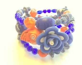 Sugar Skull Bracelet Day of the Dead Memory Wire Blue Orange Calaveras Skull Bracelet