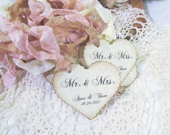 Wedding Favor Heart Tags w/ribbons - We Do Tags - Scallop Parchment Hearts - Personalized - Set of 28 - Choose Ribbon Color - Customized