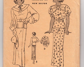 """Vintage Sewing Pattern 1930's Ladies' Short Sleeve Dress Butterick 5622 36"""" Bust - Free Pattern Grading E-book Included"""