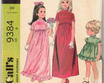 McCall's 9384 Girl's Dress With Ruffle Trim in 3 lengths Vintage Sewing Pattern Size 4
