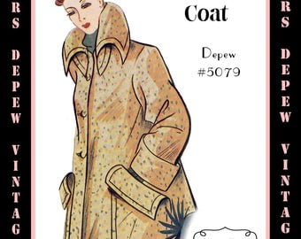 Vintage Sewing Pattern 1950's Box Coat in Any Size - PLUS Size Included - Depew 5079 -INSTANT DOWNLOAD-