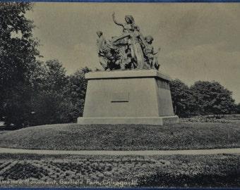 Postcard America Monument Garfield Park Chicago Illinois Unused Antique Undivided Back UDB