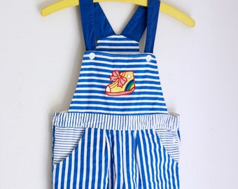 Vintage girls shortalls blue and white stripe size 8