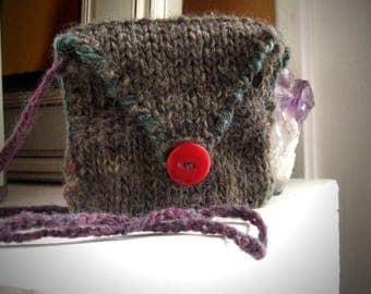 Gray medicine bag / spiritual pouch / button pouch / neck pouch / medicine necklace / knit neck pouch / festival necklace / boho neck pouch