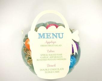 CUSTOM CUT Easter Menu - Bunny or Basket - Die cut - Basket is light yellow, Bunny is light lavender purple - Dinner, Brunch, Breakfast