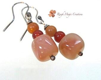 Peach Orange Gemstone Sterling Earrings, Antique Silver, Genuine Carnelian, Semi Precious Aventurine, Real Stones, Long Chunky Dangles  E264