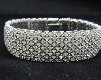 Art Deco Bracelet - Vintage Rhinestone Bridal Jewelry, Pave Rhinestone