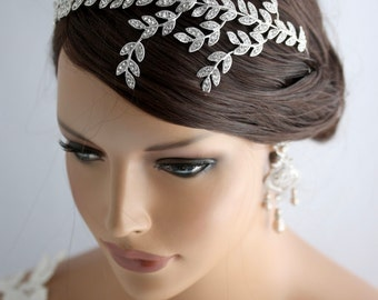 Bridal Headband Crystal Leaf headband Leaf Tiara Wedding Headband Hair Accessories Rhinestone Wedding Headband NEVE