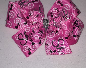 Pink Music Note Foil Ribbon Hair Bow Large 4.5 inch Pinwheel Boutique Bow