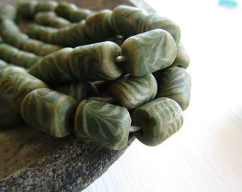 green and white glass beads, tube lampwork beads, opaque swirl designs, boho ethnic style Indonesia 9 to 10mm x 11 to 12mm (8 beads ) 6bb4-3