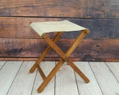 Vintage Folding Wood Camp Stool With Canvas Seat Portable Seating Small End Table