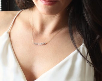 Herkimer Diamond Necklace, Crystal Necklace, Layering Necklace, Crystal Jewelry, Bridesmaid Gifts, Gift for Her, Bridesmaids Necklace