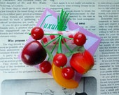 Fruity fruit salad! Handmade 40s 50s confetti lucite style novelty gingham fruit salad brooch by Luxulite