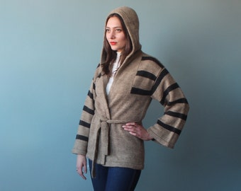 belted wrap sweater with hood bell sleeves   1970s small