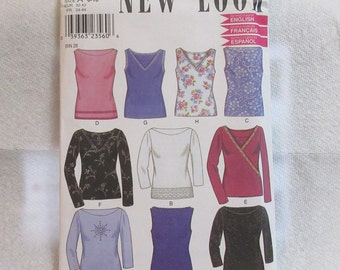 New Look Sewing Pattern Size 6 - 16 Blouse Top Neck Variations Sleeveless, 3/4 Long Sleeves Uncut Factory Folds