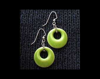 Ceramic Earrings: Tart Acid Green