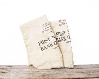 Vintage Canvas Coin Bags - Boston Bank Change Bag - Industrial Mid-Century Storage - Original Boston Memorabilia- Money Bag - Fabric