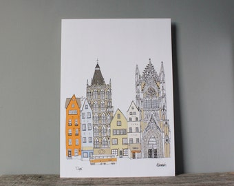 Cologne Print - A3 Cologne Skyline - Cologne Landmarks - Köln Illustration - Architecture Cityscape - Wedding Gift