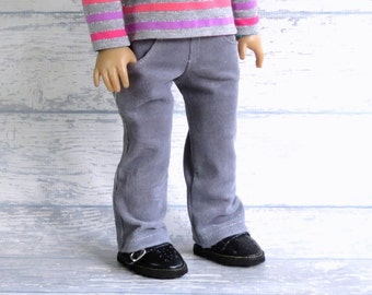 18 inch Doll Pants with Four Pockets, Sparkle Gray Corduroy Pants, Winter Sparkle Skinny Jeans