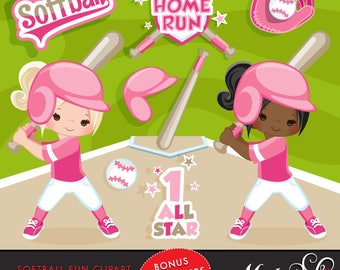 Softball Clipart. Pink Baseball graphics, baseball players, baseball game illustrations, kids playing baseball, home run, african american