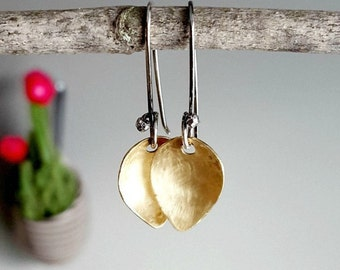Petal Earrings, Raw Brass, Sterling Silver, Women's Nature Earrings, Brushed Finish, Botanical Jewelry, Organic Jewellery, Flower Petals