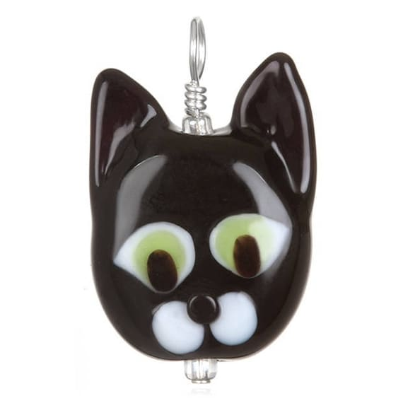 Glass Cat Pendant Necklace on Leather