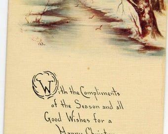 Vintage  Christmas Postcard, Landscape, snow, river, birch trees