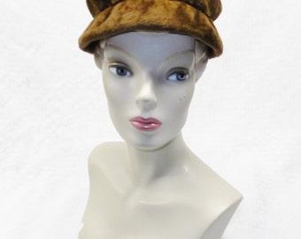 50s 60s Vintage Bernard Workman Brown Plush Hat