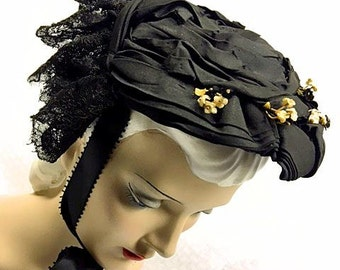 Original Victorian Bonnet 1870s Early Womens Hat Antique 1800s Black Silk Cream Velvet Flowers Chantilly Lace Curtain Back Historical