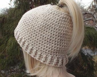 Womens Messy Bun Hat, Oatmeal Twist Crochet Hat, Ponytail Beanie, Beige Winter Hat, Ski Hat, Winter Accessories, Messy Bun Beanie