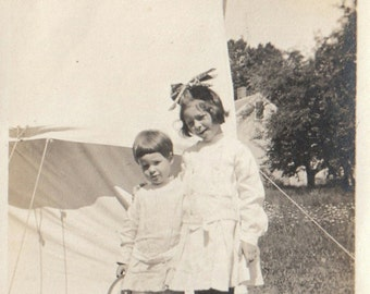 Original Vintage Photograph Snapshot Boy & Girl Pose by Tent Hat in Hand 1910s