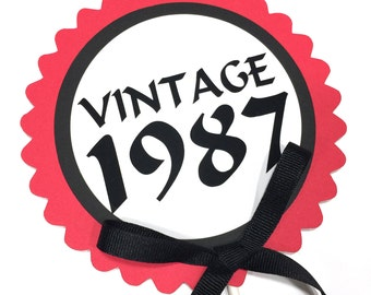 30th Birthday Topper, Vintage 1987, Black, Red and White or Choice of Colors