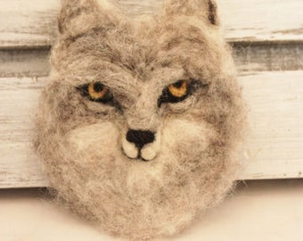 Wolf Pin, Needle Felted Wolf Brooch, Wolf Jewelry, Felted Wolf Pin, Grey Wolf Pin # 2471
