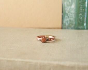Raw Spessartine Garnet Ring Electroformed Copper Size 6.25