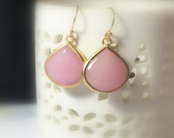 25% OFF Pink Opal Gold Drop Earrings, Gifts for her