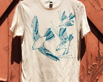 Fly Away Sparrow Organic Cotton Tee - Vivid Teal on Natural White