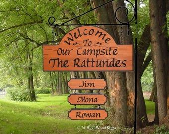 RV Camping Sign w/ children's names - Personalized Carved RV Outdoor Sign - Includes Sign Holder - JG Rattunde