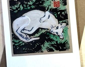 Christmas Kitty Holiday Notecard handmade linocut artist print