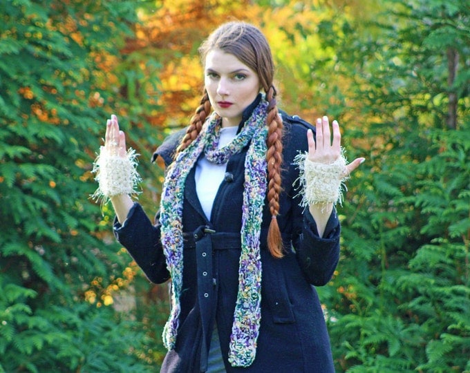 Beige White Fuzzy Fingerless Gloves and Soft Purple and Green Scarf  Set Warm Long Winter Accesory  Gift for Girls, Teens or Women